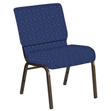 Embroidered 21''W Church Chair in Abbey Navy Fabric - Gold Vein Frame