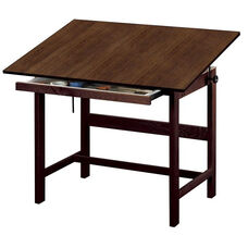Titan Solid Oak Drafting Table Walnut Finish