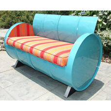 Santa Fe Steel Drum Loveseat with Multicolor Accents