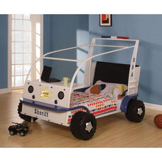 Sashi Complete Twin Bed with Desk Shelf - Sheriff Car - White and Blue