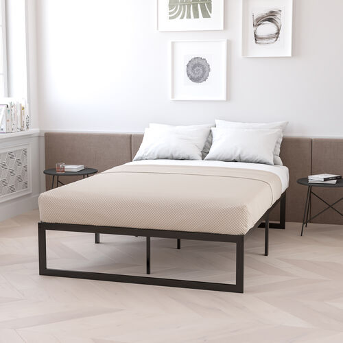 14 Inch Metal Platform Bed Frame - No Box Spring Needed with Steel Slat Support and Quick Lock Functionality (Queen)