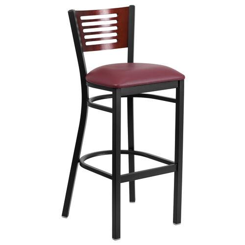 Our Black Decorative Slat Back Metal Restaurant Barstool with Mahogany Wood Back & Burgundy Vinyl Seat is on sale now.