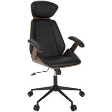 Spectre Mid-Century Modern Faux Leather Office Chair with Walnut Accents - Black