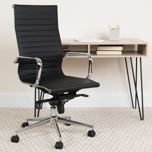 Our High Back Black Ribbed LeatherSoft Executive Swivel Office Chair with Knee-Tilt Control and Arms is on sale now.