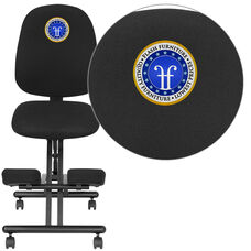 Embroidered Mobile Ergonomic Kneeling Posture Chair with Back in Black Fabric