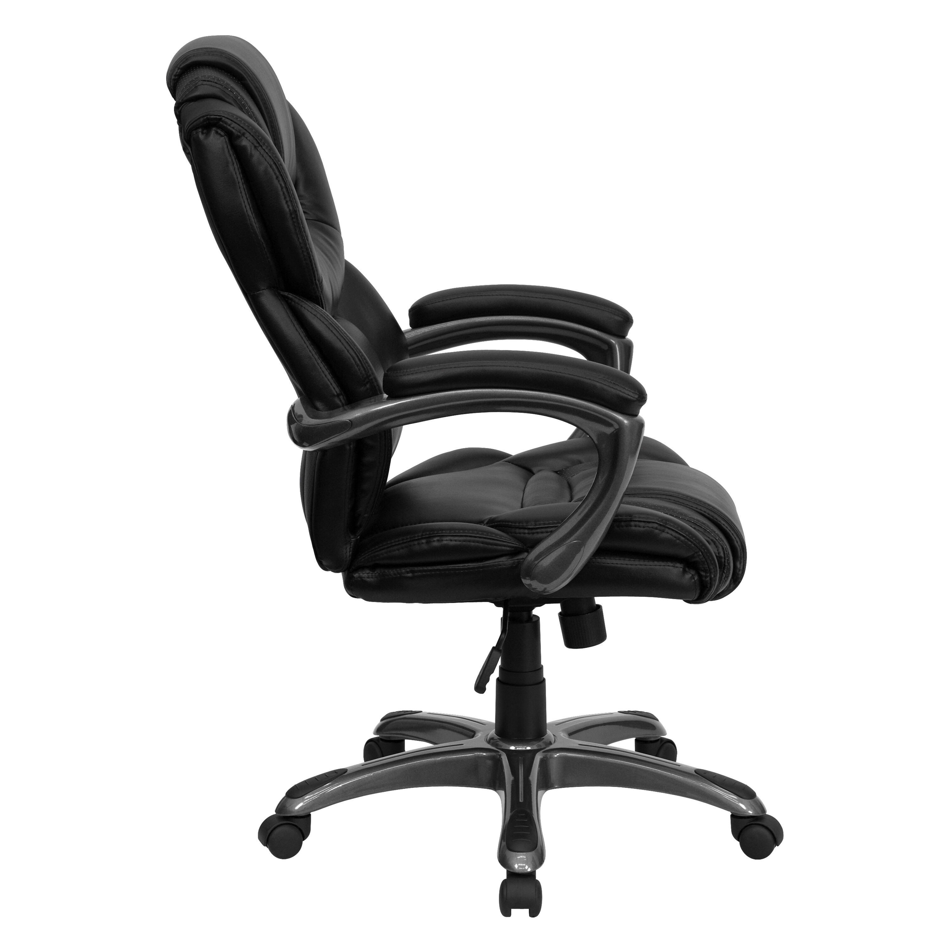 Our High Back Black Leather Executive Swivel Chair With Arms Is On Sale Now.