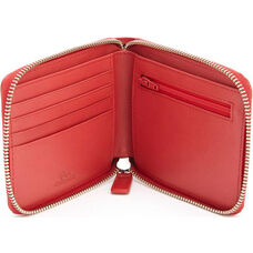 RFID Blocking Zip Around Wallet - Saffiano Genuine Leather - Red