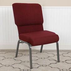 Advantage Auditorium Chair - Chair with Storage - 18.5inch Wide Seat - Maroon Fabric/Silver Vein Frame