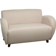 OSP Furniture Custom Fabric Love Seat with Curved Arms - Cherry