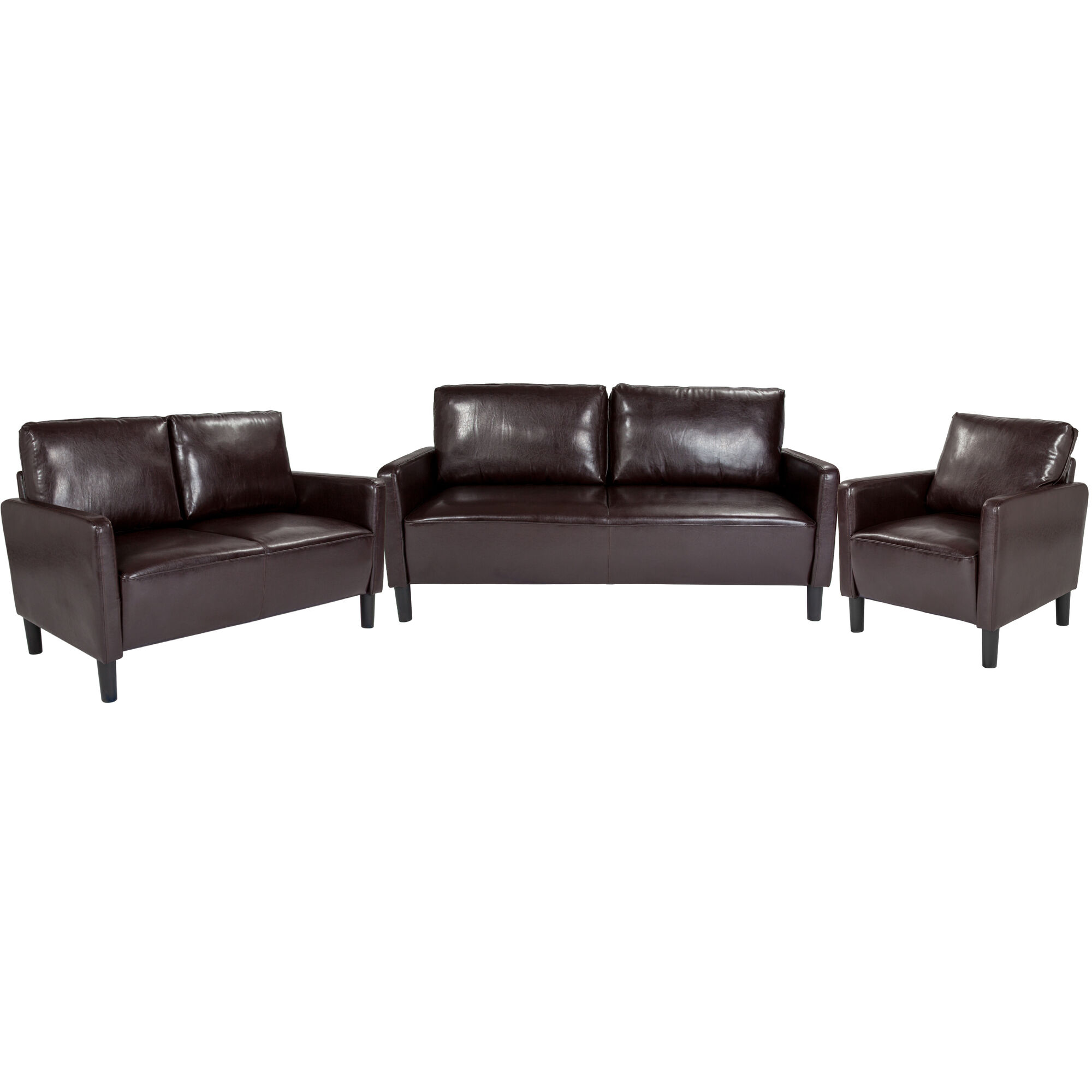 Groovy Washington Park 3 Piece Upholstered Set In Brown Leather Squirreltailoven Fun Painted Chair Ideas Images Squirreltailovenorg