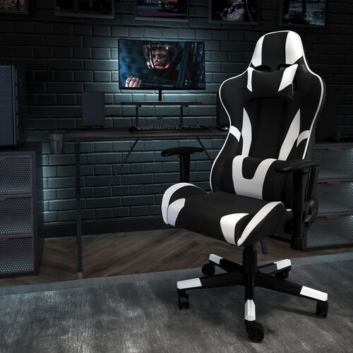 Gaming Desk and Reclining Gaming Chair Set with Cup Holder, Headphone Hook, and Monitor/Smartphone Stand