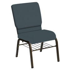HERCULES Series 18.5''W Church Chair in E-Z Wallaby Steel Blue Vinyl with Book Rack - Gold Vein Frame