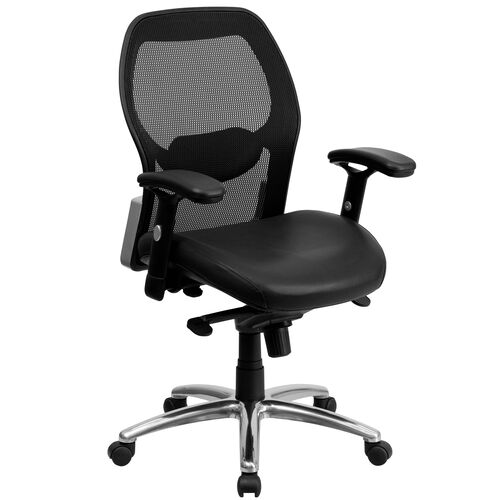 Our Mid-Back Black Super Mesh Executive Swivel Office Chair with Leather Seat, Knee Tilt Control and Adjustable Lumbar & Arms is on sale now.