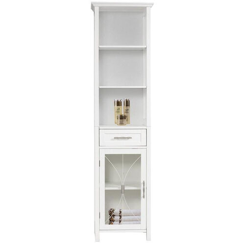 Delaney Linen Cabinet with One Drawer and 3 Open Shelves - White
