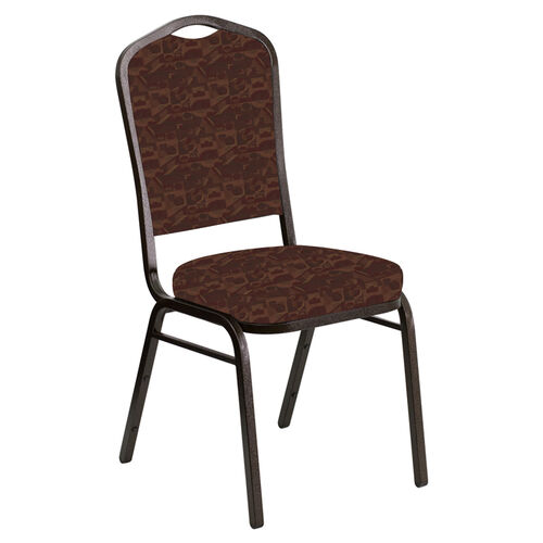 Our Embroidered Crown Back Banquet Chair in Perplex Chili Fabric - Gold Vein Frame is on sale now.