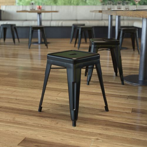 """18"""" Table Height Stool, Stackable Backless Metal Indoor Dining Stool, Commercial Grade Restaurant Stool in Black - Set of 4"""