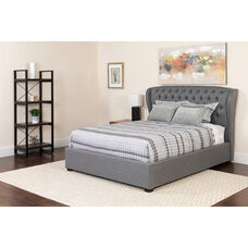 Barletta Tufted Upholstered Queen Size Platform Bed in Light Gray Fabric with Pocket Spring Mattress