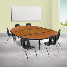 """86"""" Oval Wave Collaborative Laminate Activity Table Set with 14"""" Student Stack Chairs, Oak/Black"""