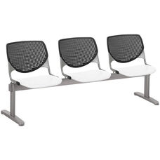 2300 KOOL Series Beam Seating with 3 Poly Black Perforated Back Seats and White Seats