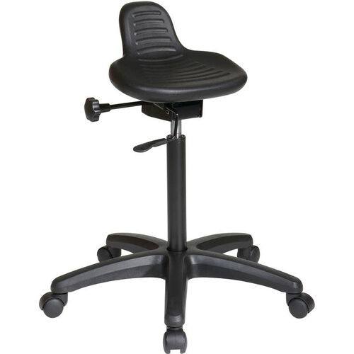 Our Work Smart Self-Skinned Urethane Saddle Seat Stool with Seat Height Adjustment - Black is on sale now.