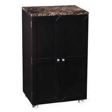 Cape Town Contemporary Bar Cabinet with Door Shelves and Specialty Glass Storage - Black