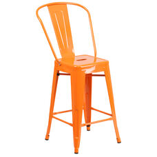 "Commercial Grade 24"" High Orange Metal Indoor-Outdoor Counter Height Stool with Back"