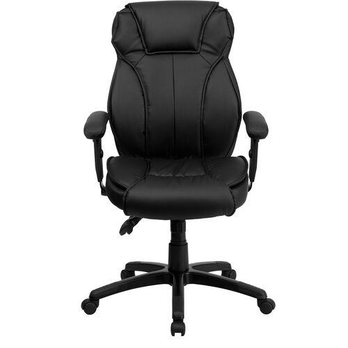 Basics Ergonomic High Back LeatherSoft Multifunction Executive Swivel Office Chair with Lumbar Support Knob, Black