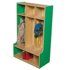 Green Apple 3-Section Seat Lockers with Two Coat Hooks in Each Section - Assembled - 30