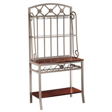 Decorative Metal Bakers Rack with Hanging Stemware Storage and Wine Bottle Holders