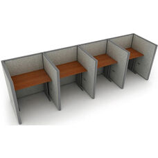 Rize 1 x 4 Privacy Workstation - Gray Vinyl with Cherry Finish