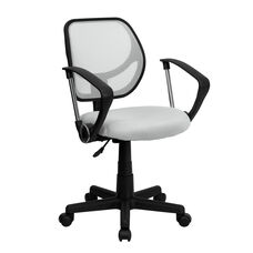Low Back White Mesh Swivel Task Office Chair with Arms
