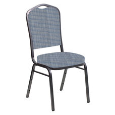 Embroidered Crown Back Banquet Chair in Sammie Joe Crystal Fabric - Silver Vein Frame