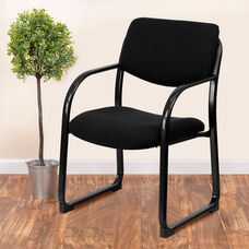Black Fabric Executive Side Reception Chair with Sled Base