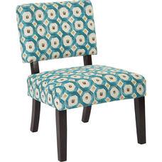 Ave Six Jasmine Armless Accent Chair - Geo Dot Teal