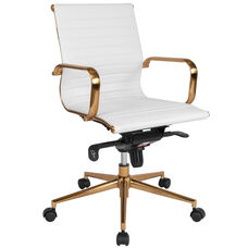 Mid-Back White Ribbed LeatherSoft Executive Swivel Office Chair with Gold Frame, Knee-Tilt Control and Arms