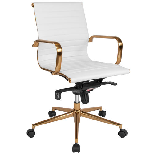 Our Mid-Back White Ribbed LeatherSoft Executive Swivel Office Chair with Gold Frame, Knee-Tilt Control and Arms is on sale now.