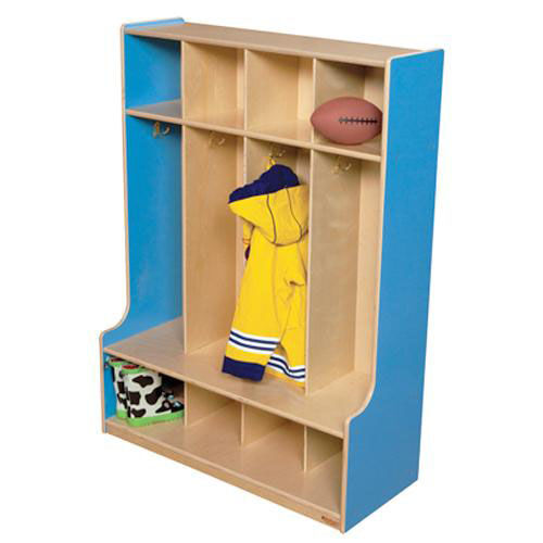 Our Blueberry 4-Section Seat Locker with Two Coat Hooks in Each Section - Assembled - 36