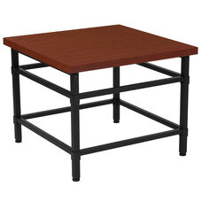 Granada Hills Collection Norway Cherry Inlaid Wood Grain Finish End Table with Black Metal Legs