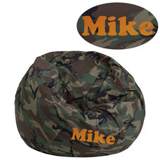 Personalized Small Camouflage Bean Bag Chair for Kids and Teens