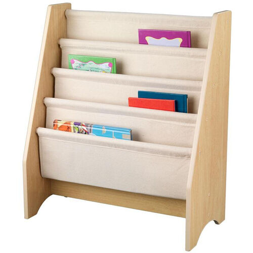 Our Kids Book Display Bookshelf with Four Canvas Sling Shelves - Natural is on sale now.