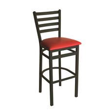Lima Metal Ladder Back Barstool - Red Vinyl Seat