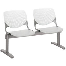2300 KOOL Series Beam Seating with 2 Poly White Perforated Back and Light Grey Seats