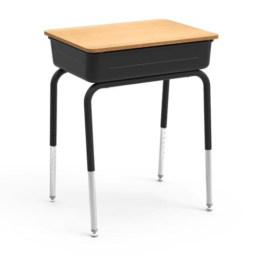 Our 751 Series Student Desk with Fusion Maple Laminate Lift Lid Top and Black Metal Book Box and Frame - 18