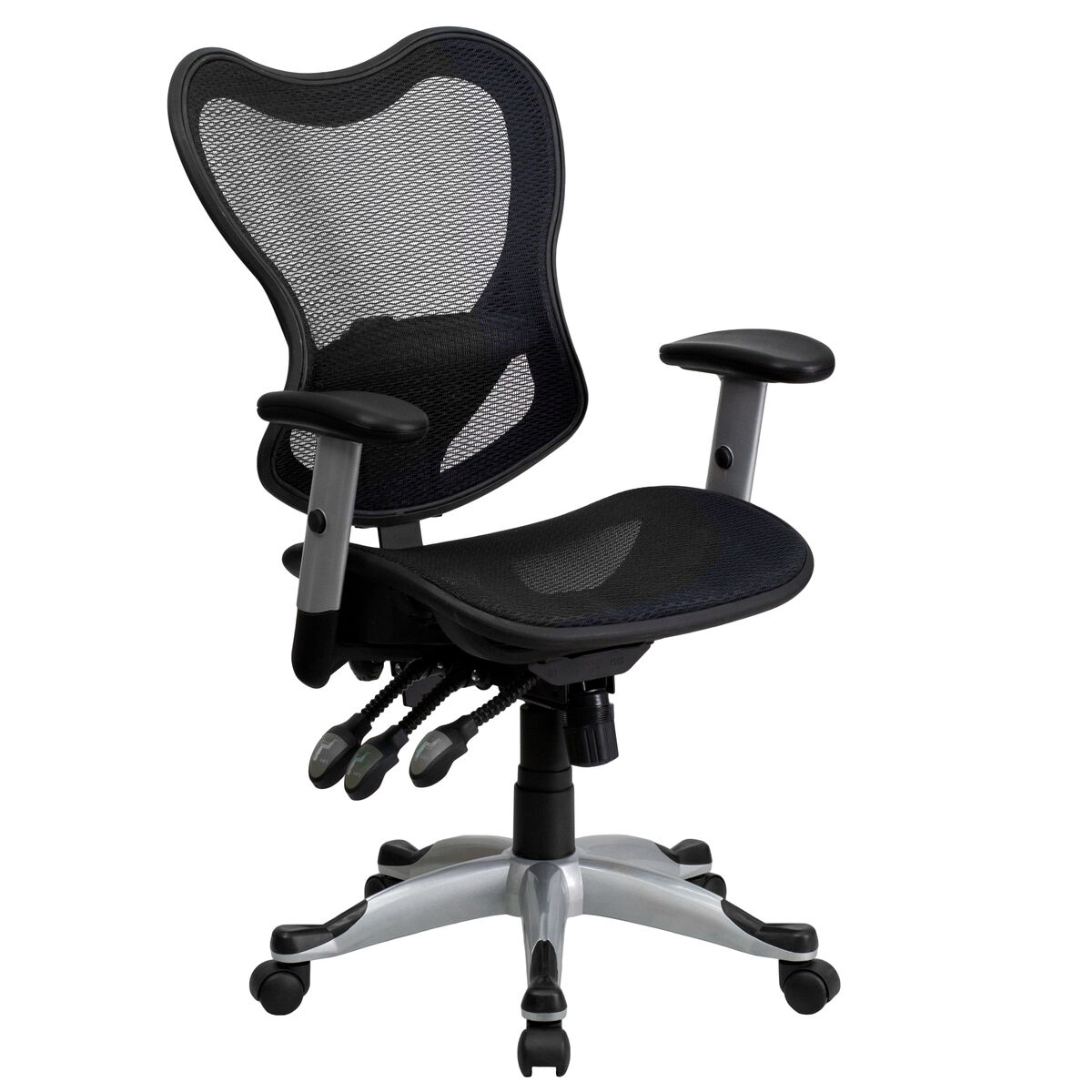 Office Chair With Adjustable Arms Mid Back Transparent Black Mesh Multifunction Executive Swivel