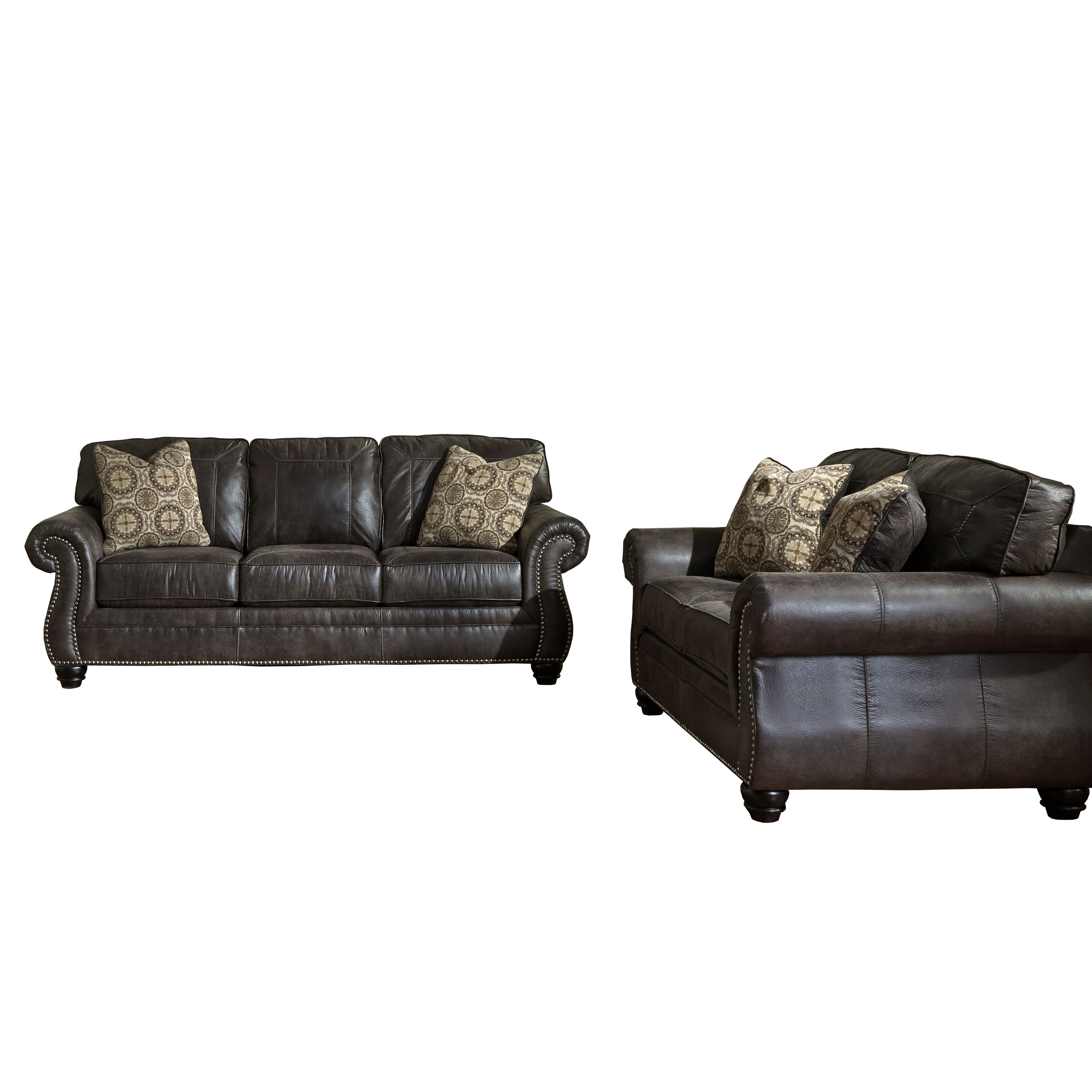 ... Our Benchcraft Breville Living Room Set In Charcoal Faux Leather Is On  Sale Now.
