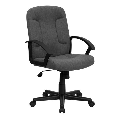 Our Mid-Back Gray Fabric Executive Swivel Office Chair with Nylon Arms is on sale now.