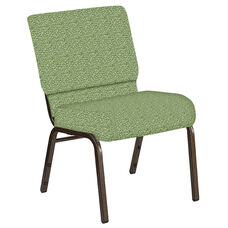 Embroidered 21''W Church Chair in Lancaster Sage Fabric - Gold Vein Frame