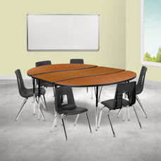 """86"""" Oval Wave Collaborative Laminate Activity Table Set with 16"""" Student Stack Chairs, Oak/Black"""