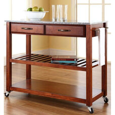 Solid Granite Top Kitchen Island Cart - Classic Cherry Finish