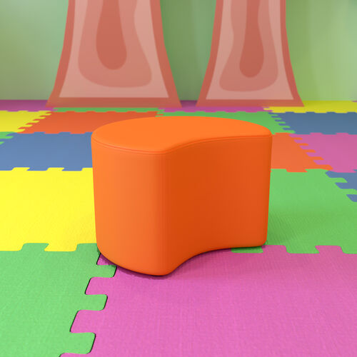 """Soft Seating Collaborative Moon for Classrooms and Daycares - 12"""" Seat Height (Orange)"""